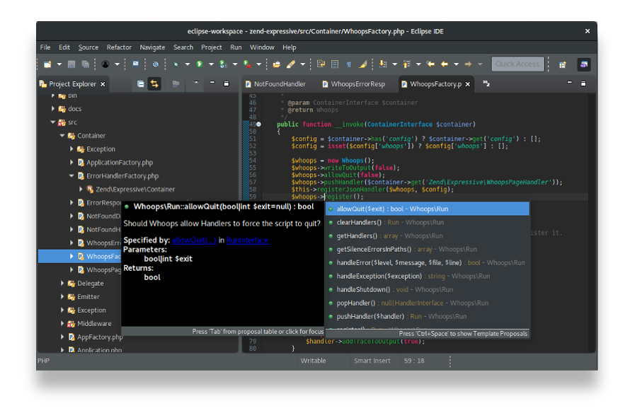 PHP Eclipse PHP code Editors (IDE) laguage editor